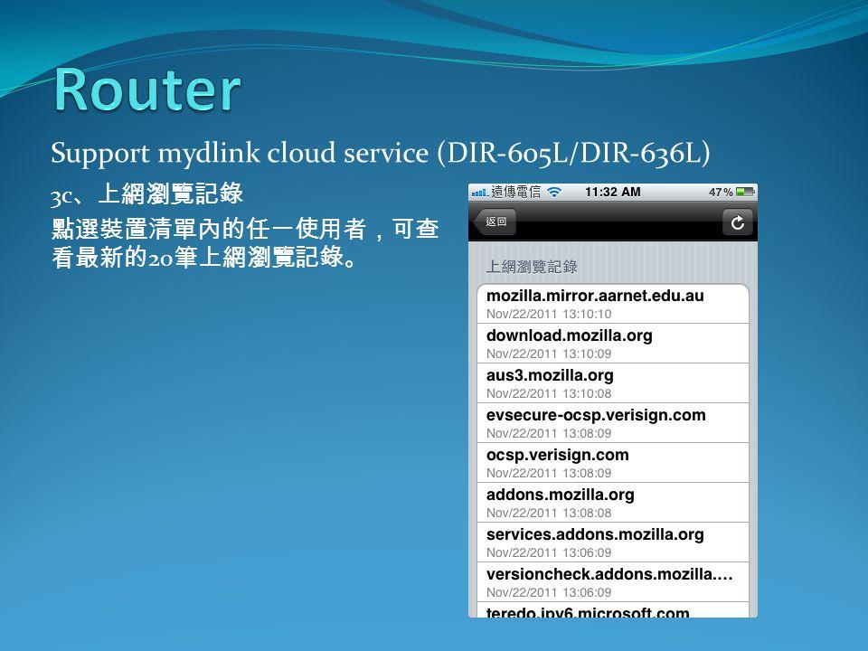 Support mydlink cloud service (DIR-605L/DIR-636L) 3c 、上網瀏覽記錄 點選裝置清單內的任一使用者,可查 看最新的 20 筆上網瀏覽記錄。