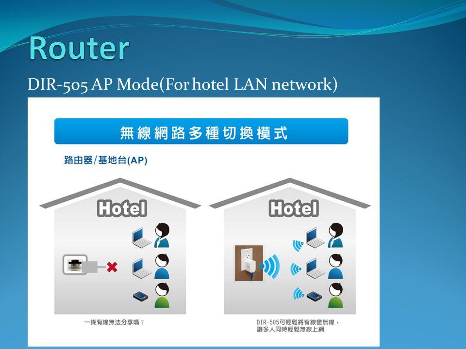 DIR-505 AP Mode(For hotel LAN network)