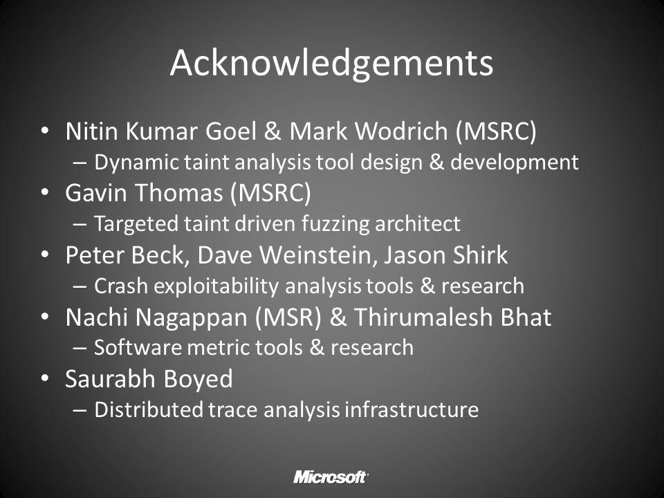 Acknowledgements Nitin Kumar Goel & Mark Wodrich (MSRC) – Dynamic taint analysis tool design & development Gavin Thomas (MSRC) – Targeted taint driven