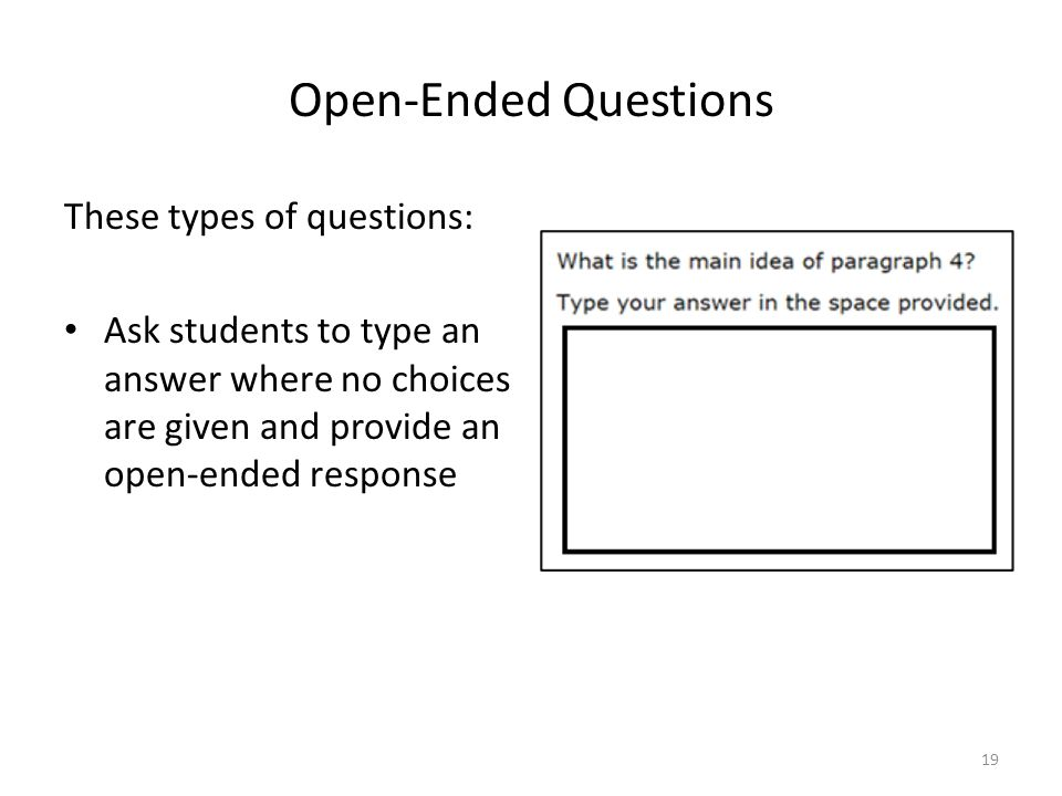 Open-Ended Questions These types of questions: Ask students to type an answer where no choices are given and provide an open-ended response 19