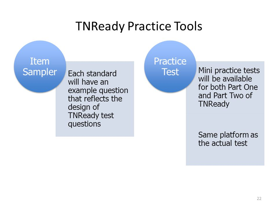 TNReady Practice Tools Each standard will have an example question that reflects the design of TNReady test questions Item Sampler Mini practice tests