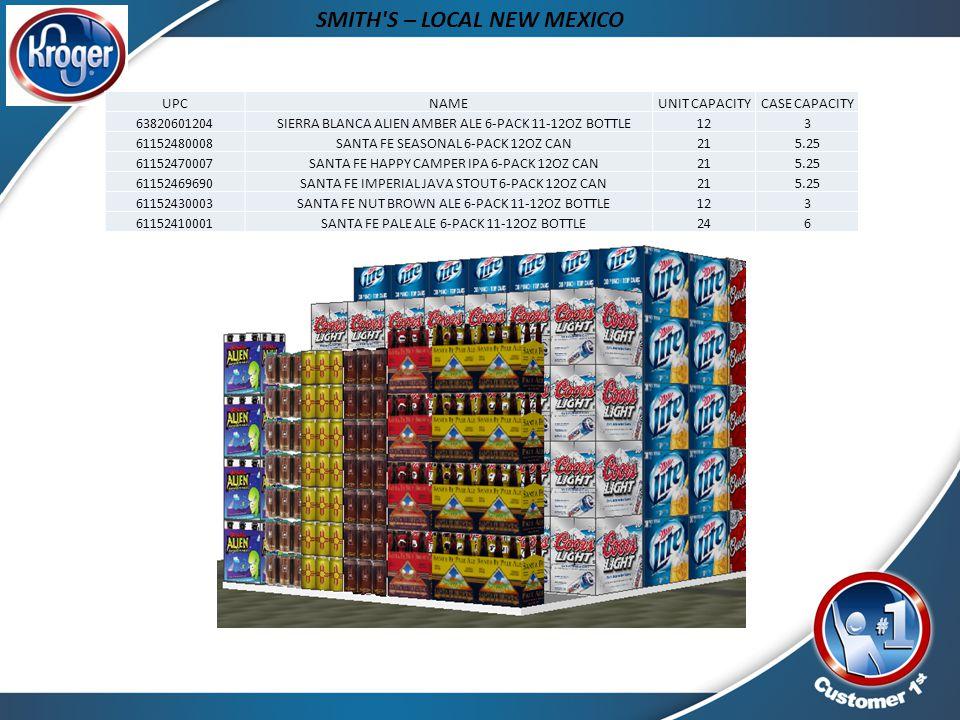 SMITH'S – LOCAL NEW MEXICO UPCNAMEUNIT CAPACITYCASE CAPACITY 63820601204 SIERRA BLANCA ALIEN AMBER ALE 6-PACK 11-12OZ BOTTLE123 61152480008 SANTA FE S