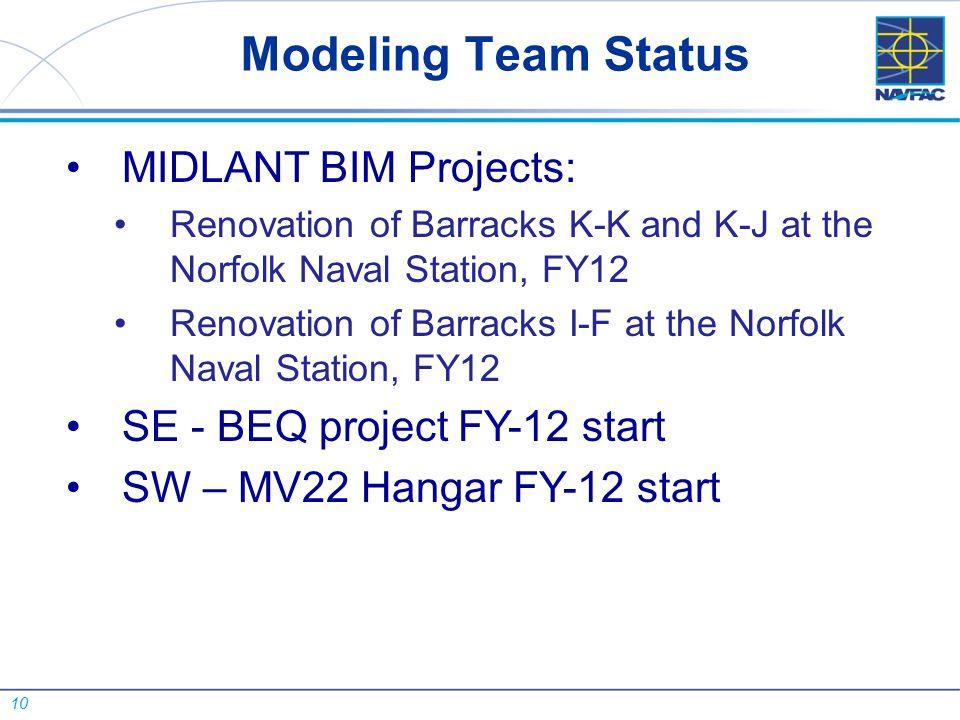 10 MIDLANT BIM Projects: Renovation of Barracks K-K and K-J at the Norfolk Naval Station, FY12 Renovation of Barracks I-F at the Norfolk Naval Station