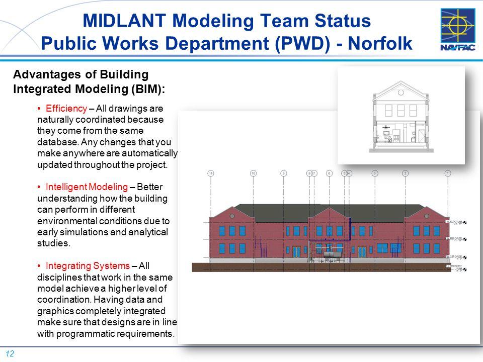 12 MIDLANT Modeling Team Status Public Works Department (PWD) - Norfolk Advantages of Building Integrated Modeling (BIM): Efficiency – All drawings ar
