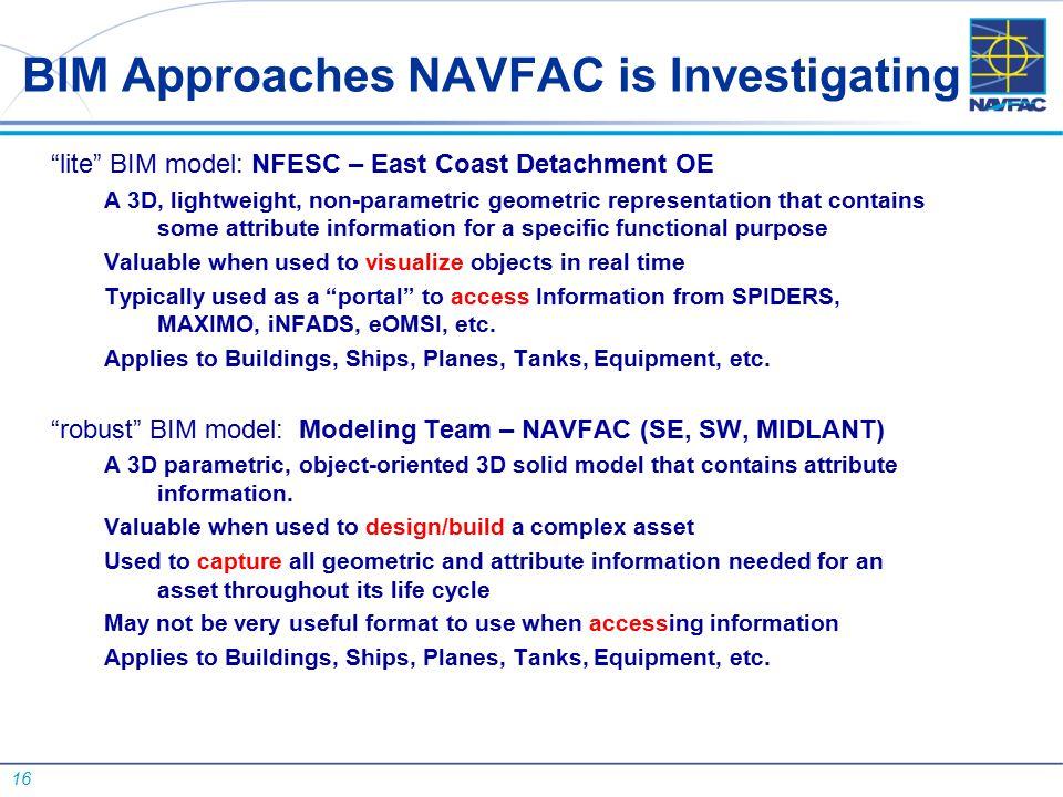 "16 BIM Approaches NAVFAC is Investigating ""lite"" BIM model: NFESC – East Coast Detachment OE A 3D, lightweight, non-parametric geometric representatio"
