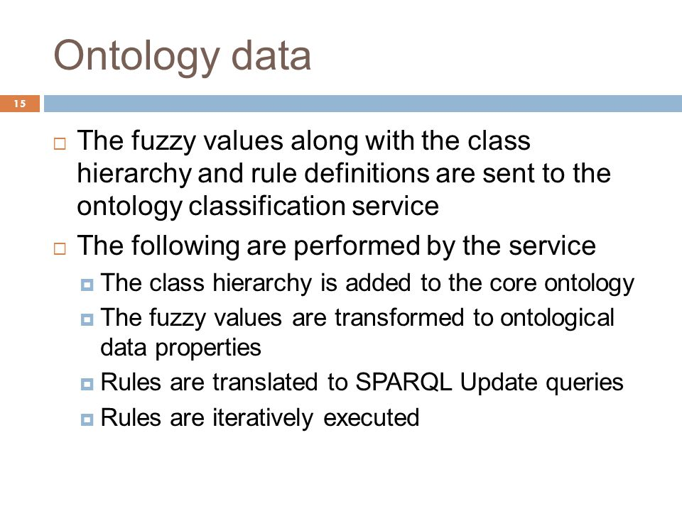 Ontology data 15  The fuzzy values along with the class hierarchy and rule definitions are sent to the ontology classification service  The following are performed by the service  The class hierarchy is added to the core ontology  The fuzzy values are transformed to ontological data properties  Rules are translated to SPARQL Update queries  Rules are iteratively executed