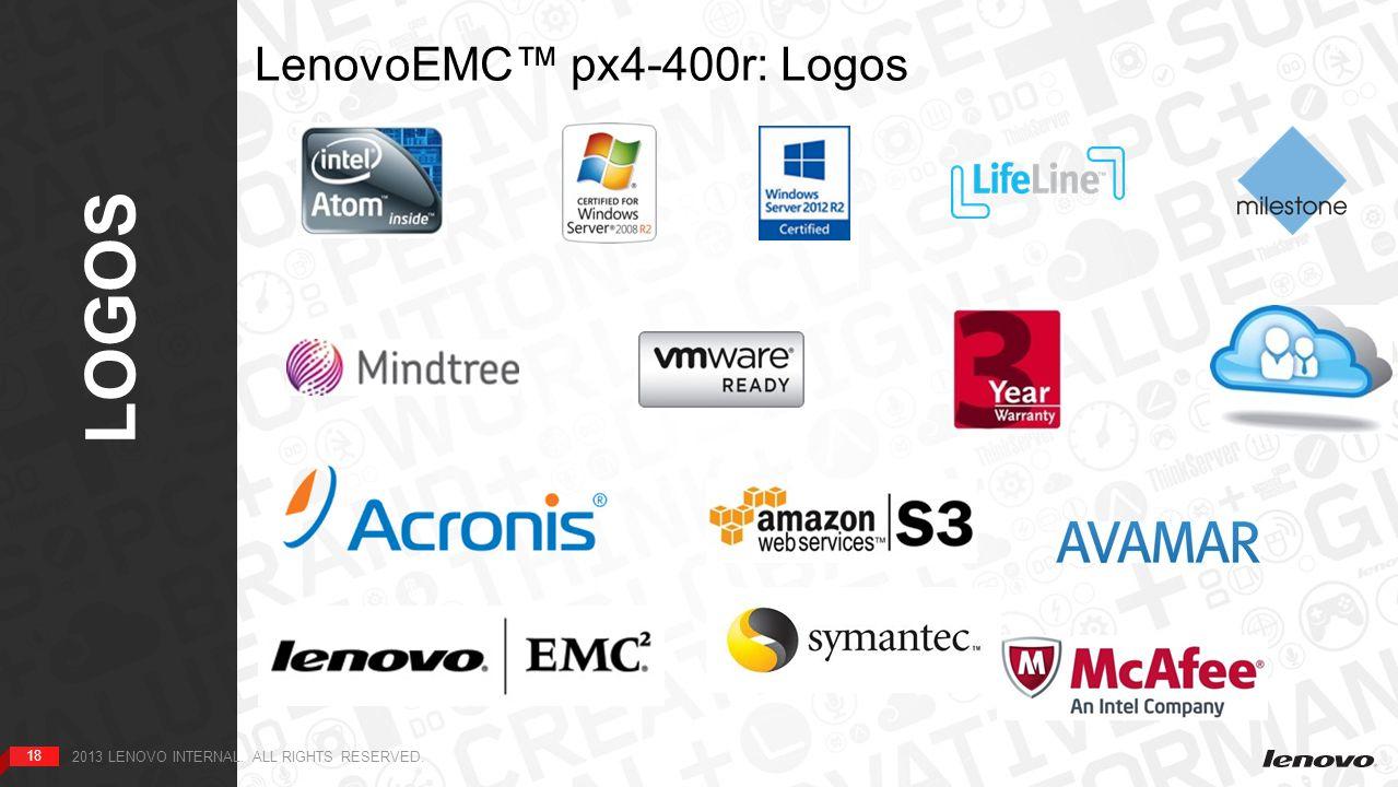 18 LOGOS 18 2013 LENOVO INTERNAL. ALL RIGHTS RESERVED. LenovoEMC™ px4-400r: Logos HOME