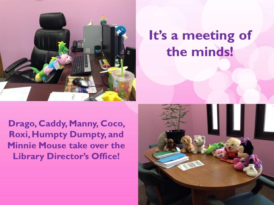 Drago, Caddy, Manny, Coco, Roxi, Humpty Dumpty, and Minnie Mouse take over the Library Director's Office.