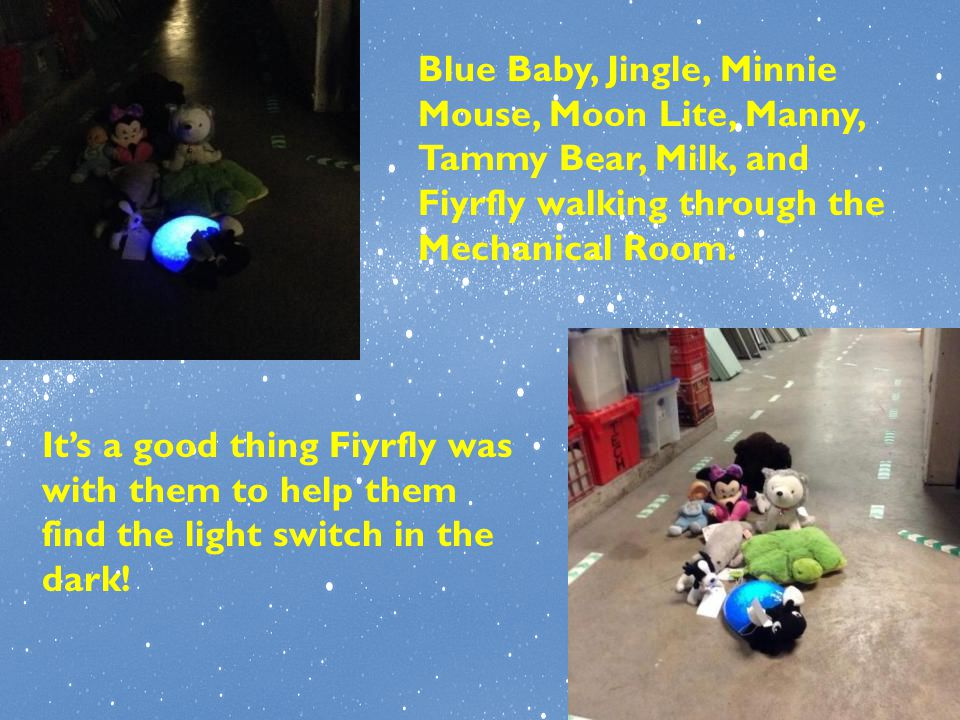 Blue Baby, Jingle, Minnie Mouse, Moon Lite, Manny, Tammy Bear, Milk, and Fiyrfly walking through the Mechanical Room. It's a good thing Fiyrfly was wi