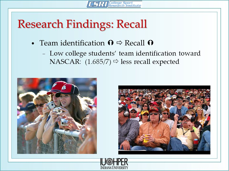 Research Findings: Recall Team identification   Recall  − Low college students' team identification toward NASCAR: (1.685/7)  less recall expected