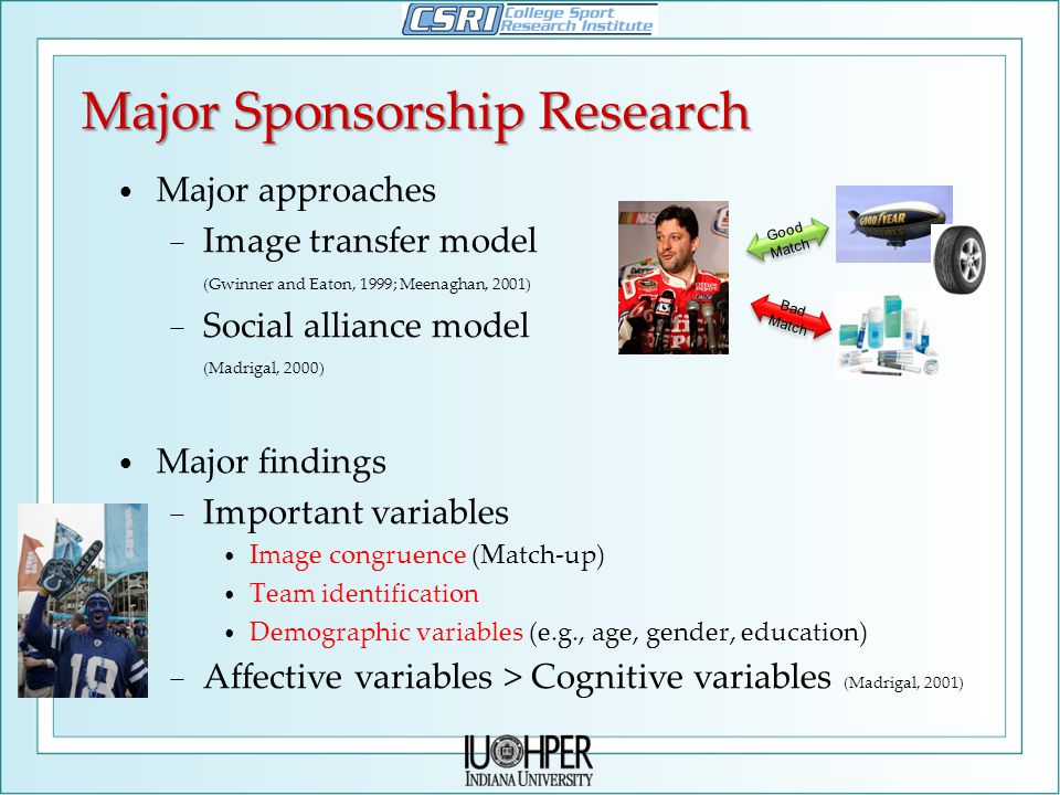Major Sponsorship Research Major approaches − Image transfer model (Gwinner and Eaton, 1999; Meenaghan, 2001) − Social alliance model (Madrigal, 2000) Major findings − Important variables Image congruence (Match-up) Team identification Demographic variables (e.g., age, gender, education) − Affective variables > Cognitive variables (Madrigal, 2001) Good Match Bad Match