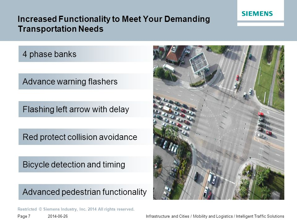 2014-06-26 Restricted © Siemens Industry, Inc. 2014 All rights reserved. Page 7Infrastructure and Cities / Mobility and Logistics / Intelligent Traffi