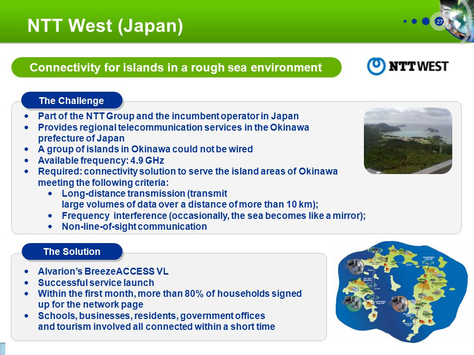 Proprietary Information 27 NTT West (Japan) The Challenge The Solution Part of the NTT Group and the incumbent operator in Japan Provides regional telecommunication services in the Okinawa prefecture of Japan A group of islands in Okinawa could not be wired Available frequency: 4.9 GHz Required: connectivity solution to serve the island areas of Okinawa meeting the following criteria: Long-distance transmission (transmit large volumes of data over a distance of more than 10 km); Frequency interference (occasionally, the sea becomes like a mirror); Non-line-of-sight communication Alvarion's BreezeACCESS VL Successful service launch Within the first month, more than 80% of households signed up for the network page Schools, businesses, residents, government offices and tourism involved all connected within a short time Connectivity for islands in a rough sea environment