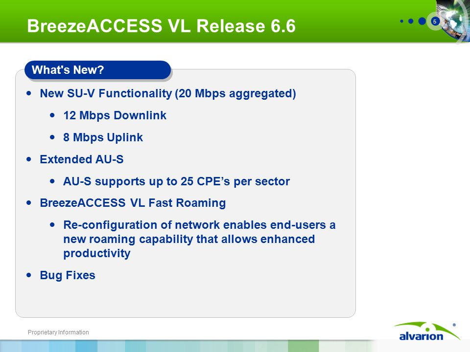 Proprietary Information 5 BreezeACCESS VL Release 6.6 New SU-V Functionality (20 Mbps aggregated) 12 Mbps Downlink 8 Mbps Uplink Extended AU-S AU-S supports up to 25 CPE's per sector BreezeACCESS VL Fast Roaming Re-configuration of network enables end-users a new roaming capability that allows enhanced productivity Bug Fixes What s New?