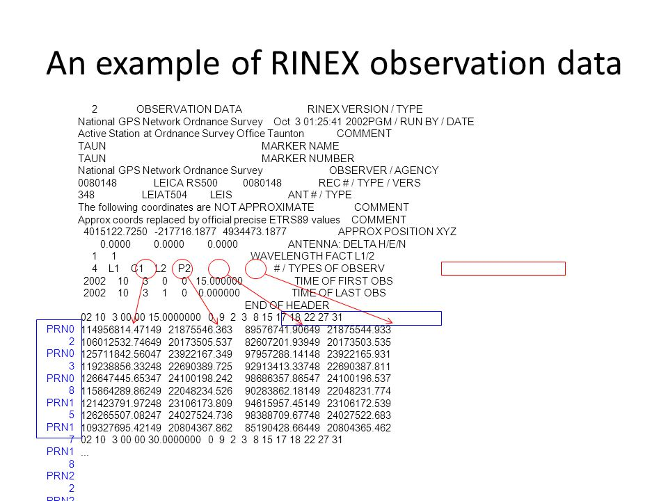 An example of RINEX observation data 2 OBSERVATION DATA RINEX VERSION / TYPE National GPS Network Ordnance Survey Oct 3 01:25:41 2002PGM / RUN BY / DA