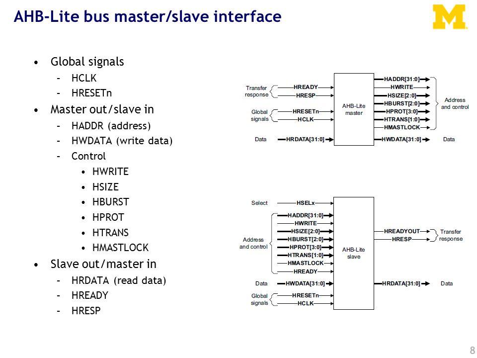 8 AHB-Lite bus master/slave interface Global signals –HCLK –HRESETn Master out/slave in –HADDR (address) –HWDATA (write data) –Control HWRITE HSIZE HBURST HPROT HTRANS HMASTLOCK Slave out/master in –HRDATA (read data) –HREADY –HRESP