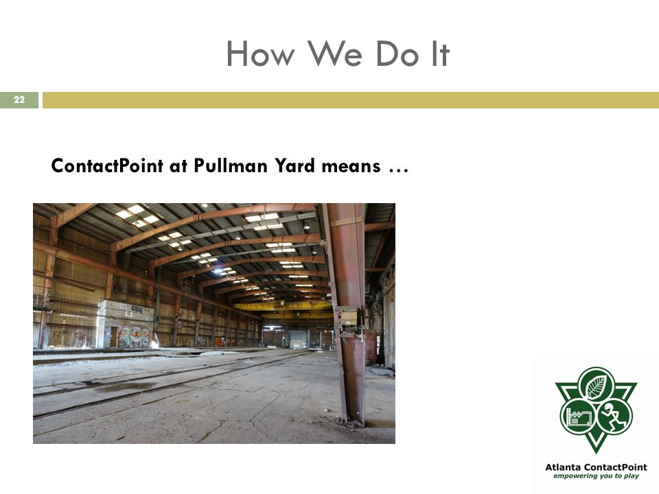 How We Do It 22 ContactPoint at Pullman Yard means …
