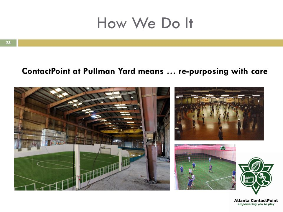 How We Do It 23 ContactPoint at Pullman Yard means … re-purposing with care