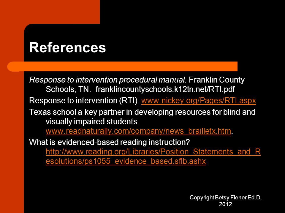 References Response to intervention procedural manual.