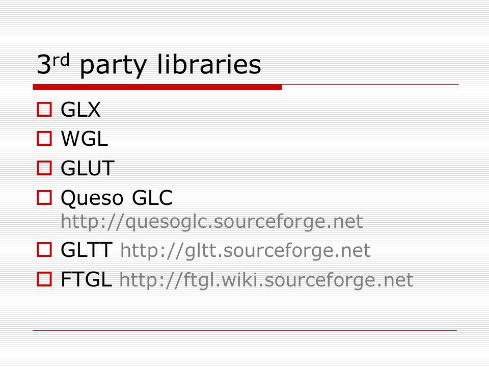 3 rd party libraries  GLX  WGL  GLUT  Queso GLC http://quesoglc.sourceforge.net  GLTT http://gltt.sourceforge.net  FTGL http://ftgl.wiki.sourcef