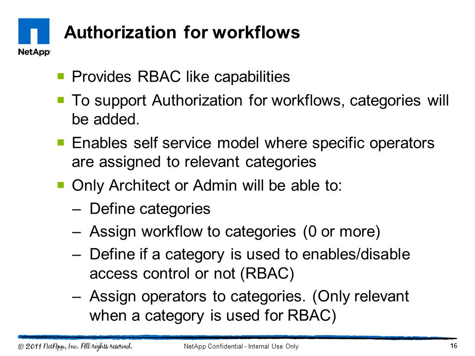 Authorization for workflows  Provides RBAC like capabilities  To support Authorization for workflows, categories will be added.  Enables self servi
