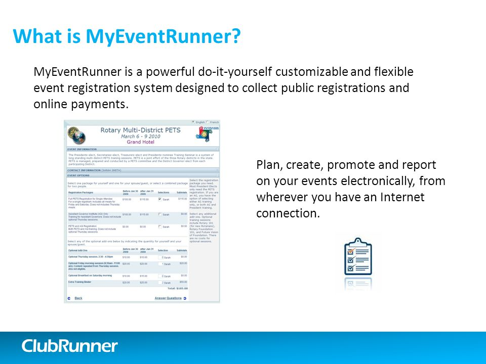 ClubRunner What is MyEventRunner.