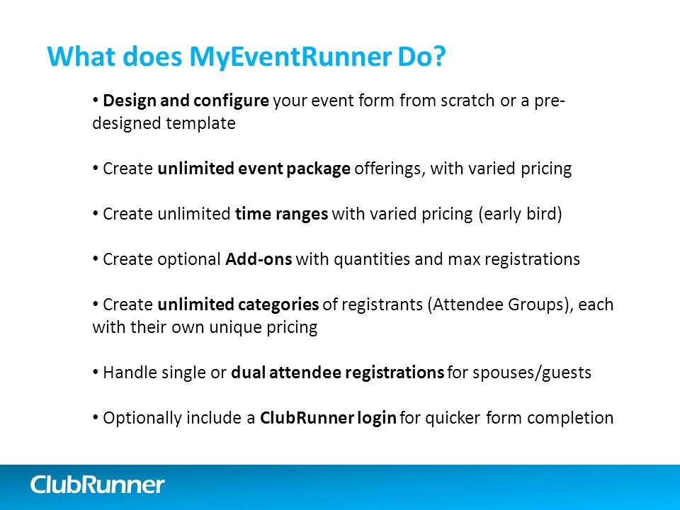 ClubRunner What does MyEventRunner Do.