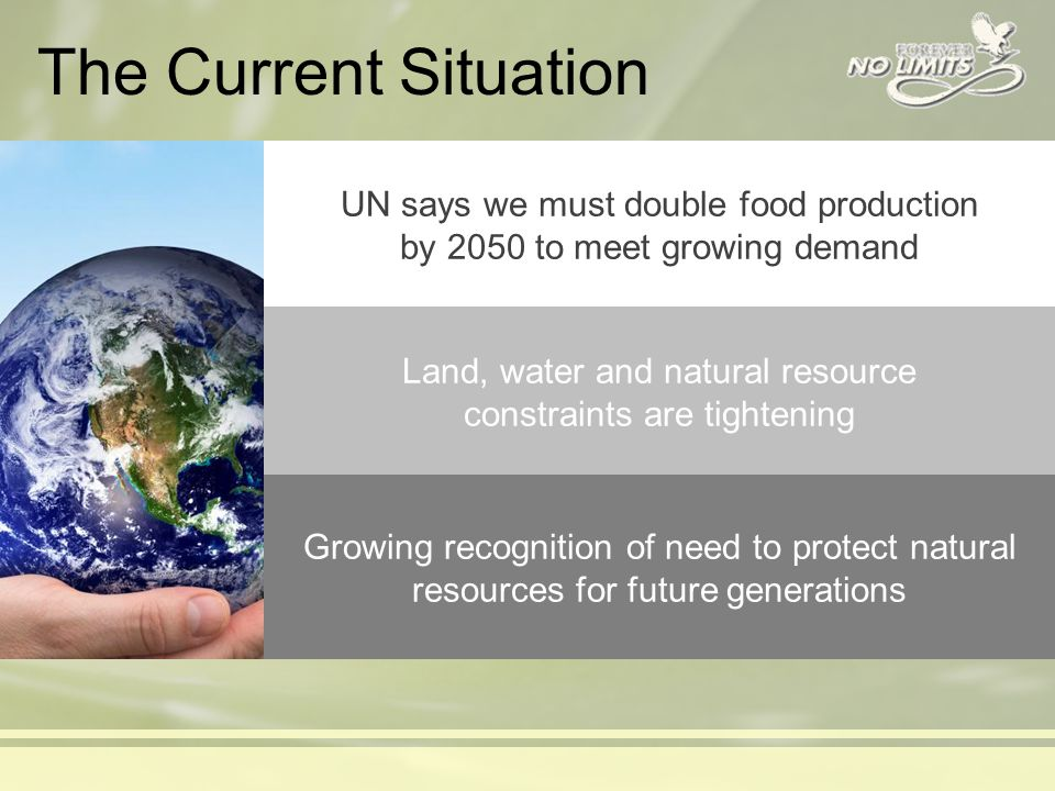 The Current Situation UN says we must double food production by 2050 to meet growing demand Land, water and natural resource constraints are tightening Growing recognition of need to protect natural resources for future generations