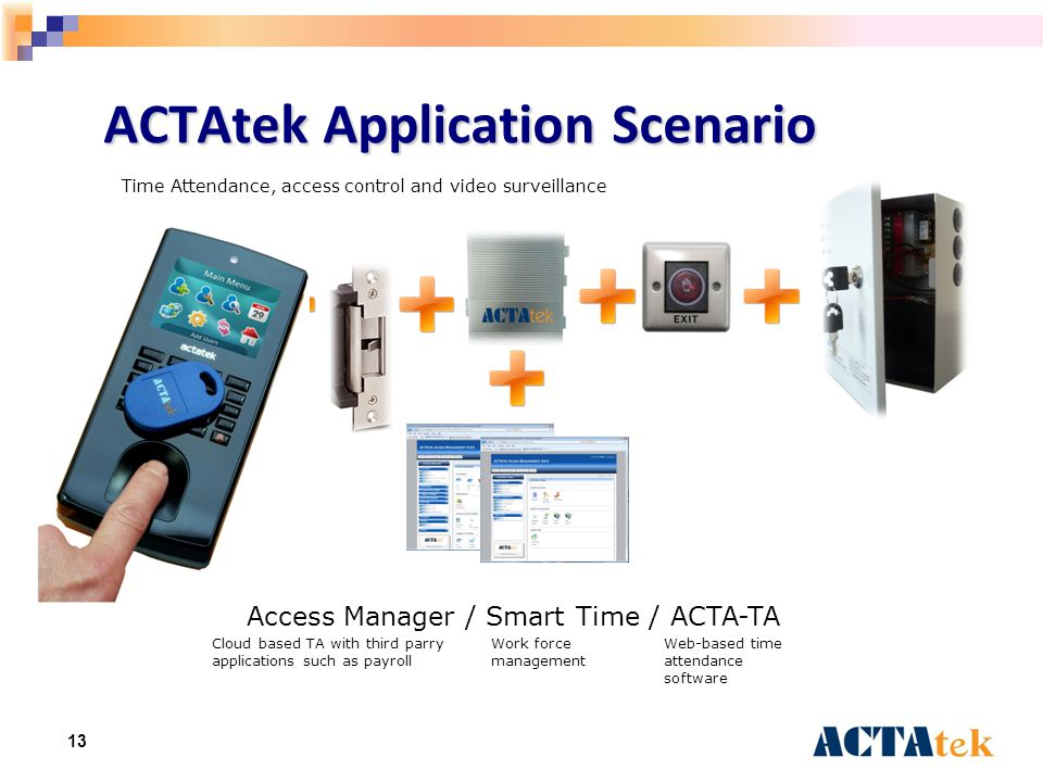13 ACTAtek Application Scenario Access Manager / Smart Time / ACTA-TA Cloud based TA with third parry applications such as payroll Work force management Web-based time attendance software Time Attendance, access control and video surveillance