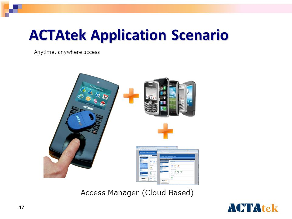 17 ACTAtek Application Scenario Access Manager (Cloud Based) Anytime, anywhere access