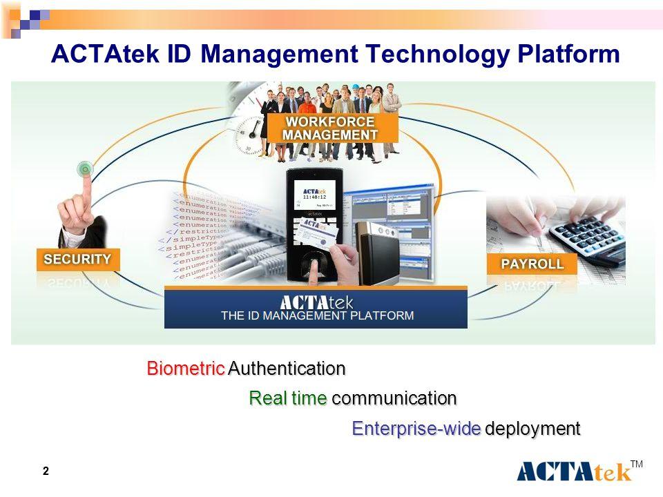 22 ACTAtek ID Management Technology Platform Real time communication Biometric Authentication Enterprise-wide deployment