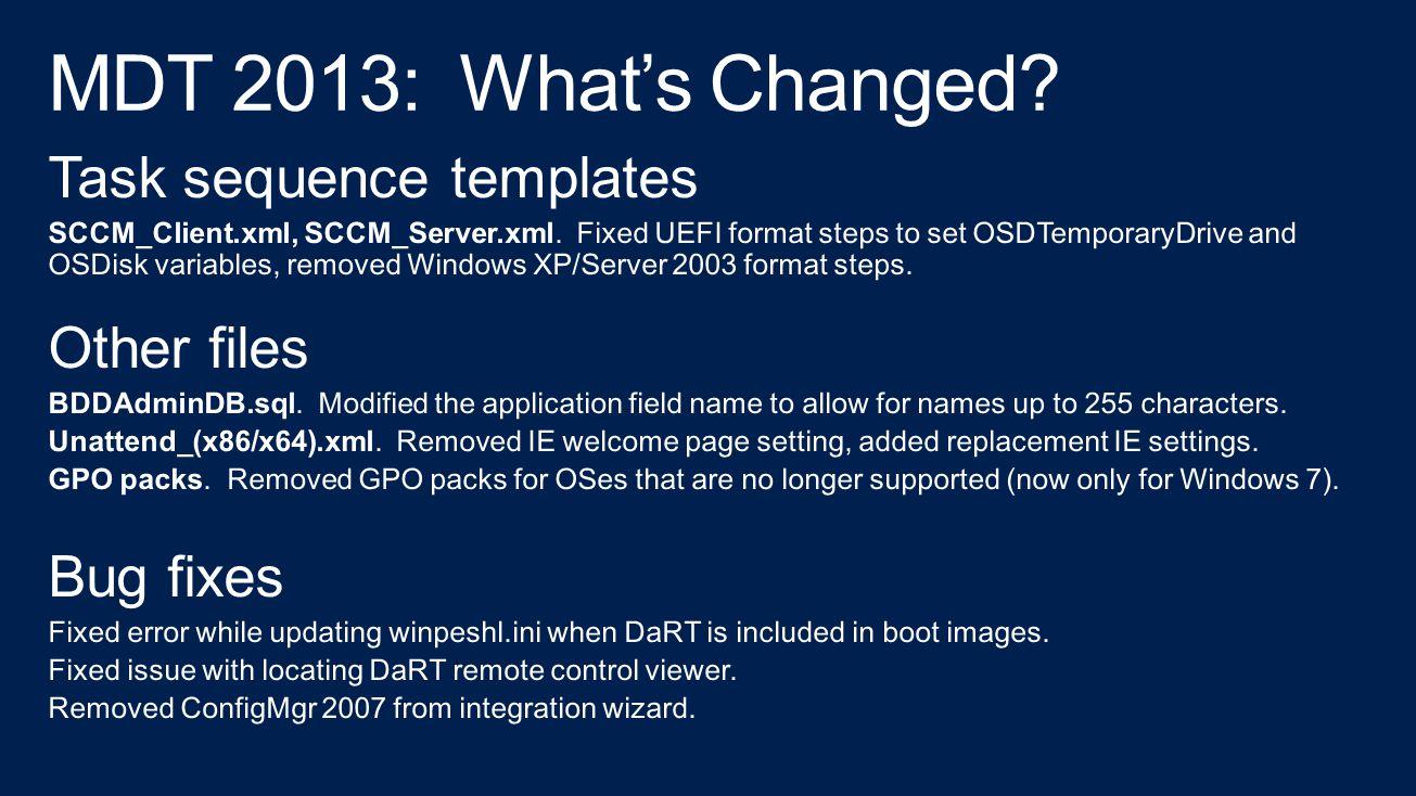 MDT 2013: In Summary