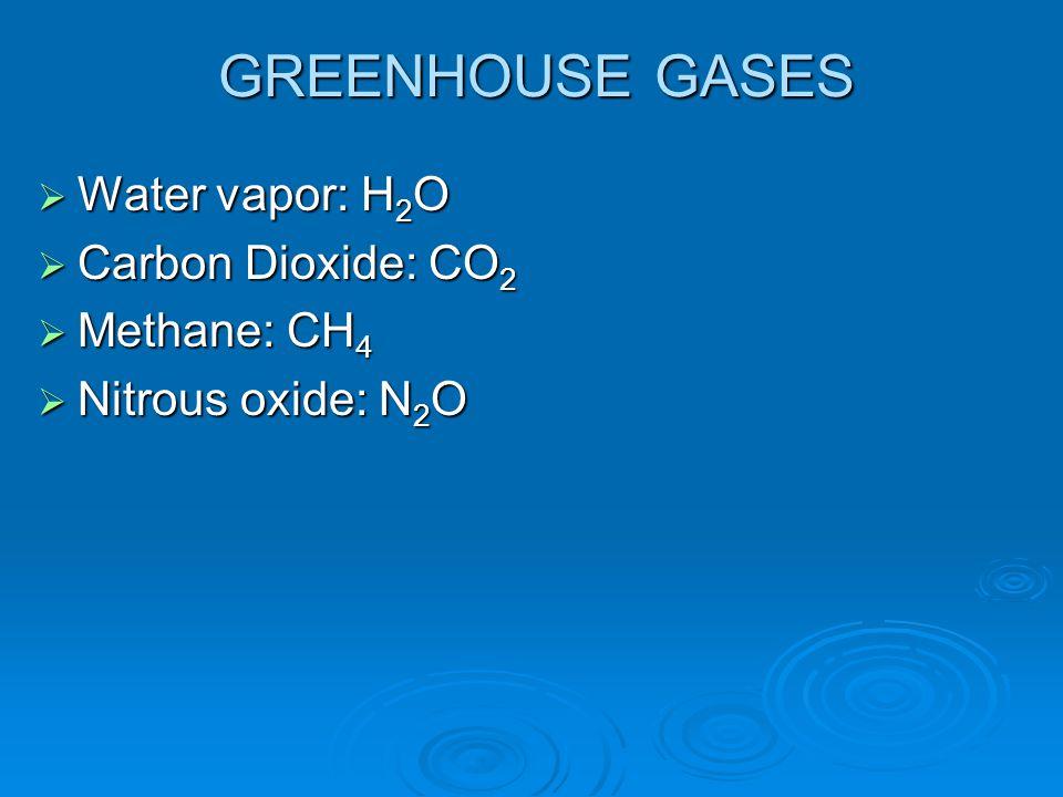 GREENHOUSE GASES  Water vapor: H 2 O  Carbon Dioxide: CO 2  Methane: CH 4  Nitrous oxide: N 2 O