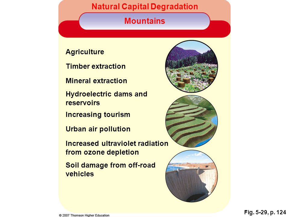 Fig. 5-29, p. 124 Natural Capital Degradation Mountains Agriculture Timber extraction Mineral extraction Hydroelectric dams and reservoirs Increasing
