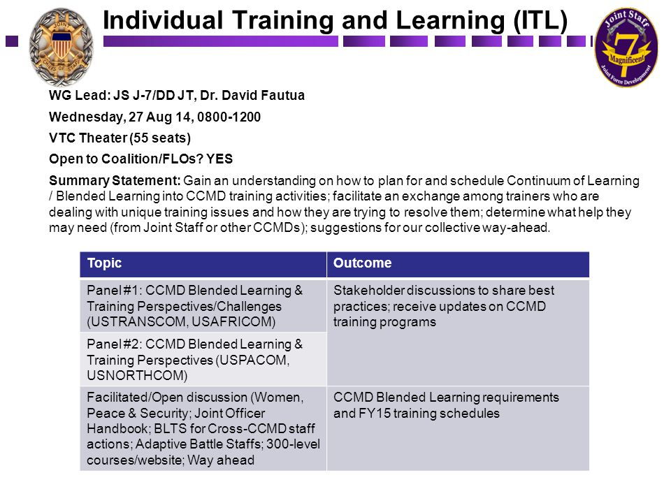 Individual Training and Learning (ITL) WG Lead: JS J-7/DD JT, Dr. David Fautua Wednesday, 27 Aug 14, 0800-1200 VTC Theater (55 seats) Open to Coalitio
