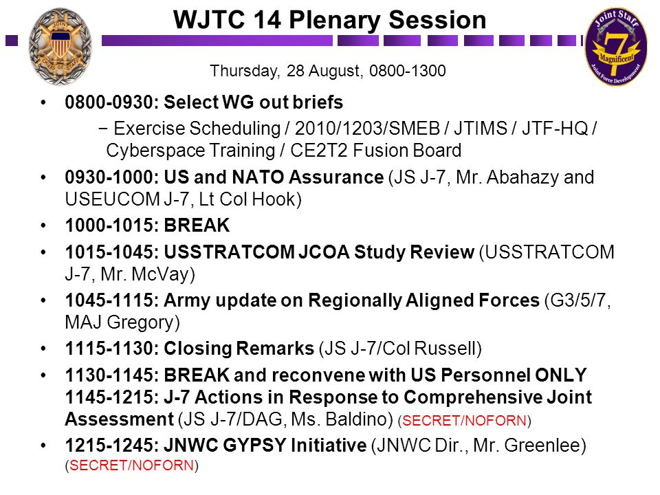 WJTC 14 Plenary Session 0800-0930: Select WG out briefs − Exercise Scheduling / 2010/1203/SMEB / JTIMS / JTF-HQ / Cyberspace Training / CE2T2 Fusion