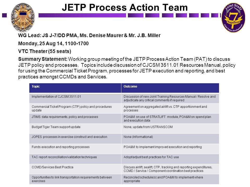 JETP Process Action Team WG Lead: JS J-7/DD PMA, Ms. Denise Maurer & Mr. J.B. Miller Monday, 25 Aug 14, 1100-1700 VTC Theater (55 seats) Summary State