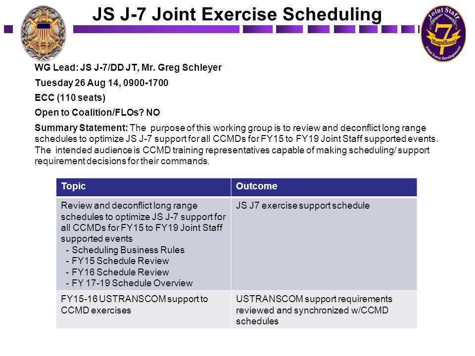 JS J-7 Joint Exercise Scheduling WG Lead: JS J-7/DD JT, Mr. Greg Schleyer Tuesday 26 Aug 14, 0900-1700 ECC (110 seats) Open to Coalition/FLOs? NO Summ