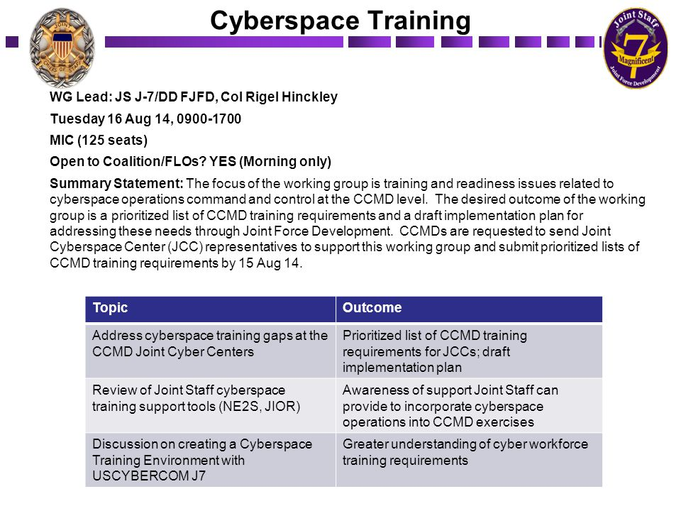 Cyberspace Training WG Lead: JS J-7/DD FJFD, Col Rigel Hinckley Tuesday 16 Aug 14, 0900-1700 MIC (125 seats) Open to Coalition/FLOs? YES (Morning only