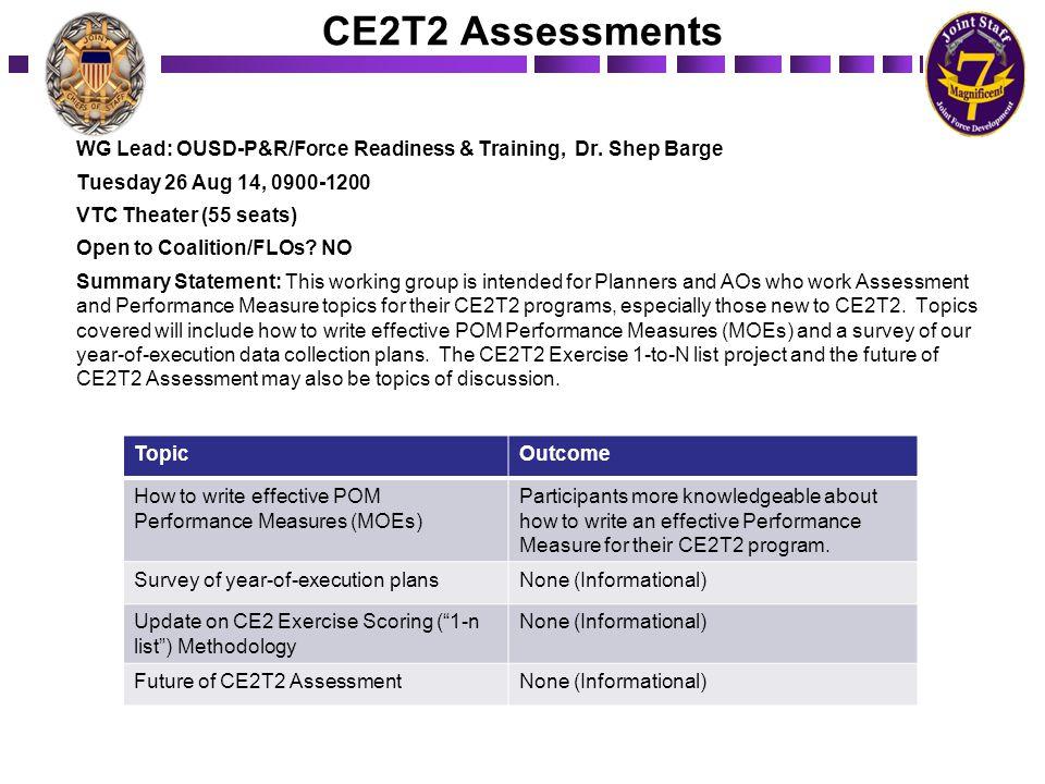 CE2T2 Assessments WG Lead: OUSD-P&R/Force Readiness & Training, Dr. Shep Barge Tuesday 26 Aug 14, 0900-1200 VTC Theater (55 seats) Open to Coalition/F