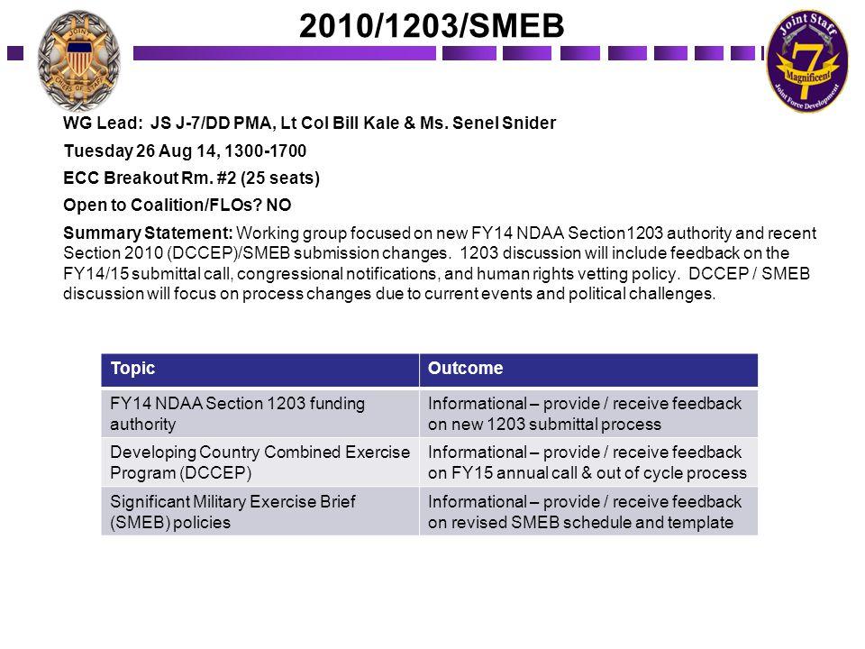 2010/1203/SMEB WG Lead: JS J-7/DD PMA, Lt Col Bill Kale & Ms. Senel Snider Tuesday 26 Aug 14, 1300-1700 ECC Breakout Rm. #2 (25 seats) Open to Coaliti