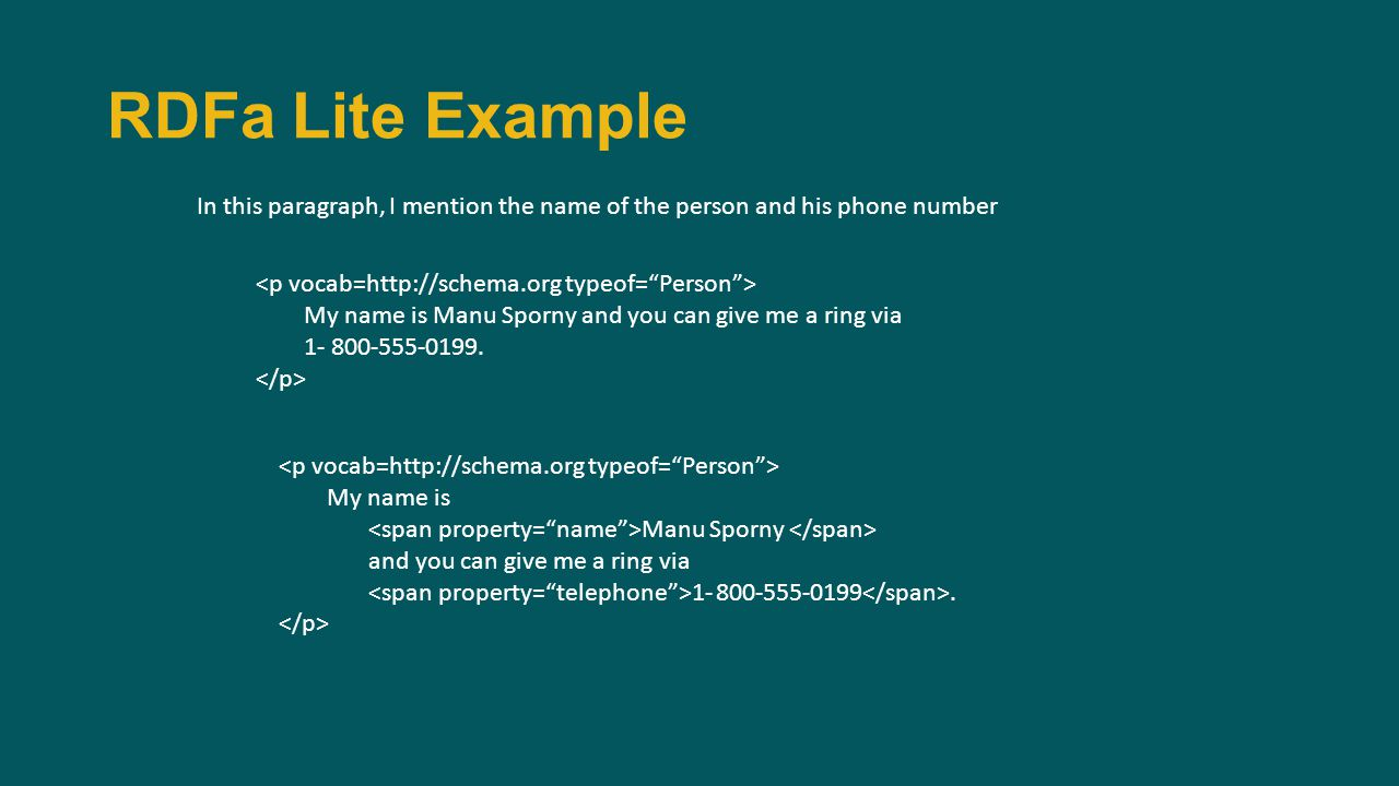 RDFa Lite Example In this paragraph, I mention the name of the person and his phone number My name is Manu Sporny and you can give me a ring via 1- 800-555-0199.