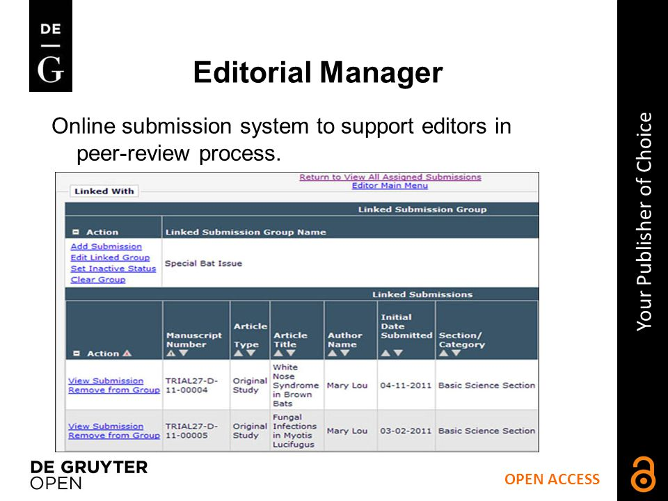 Editorial Manager Online submission system to support editors in peer-review process.