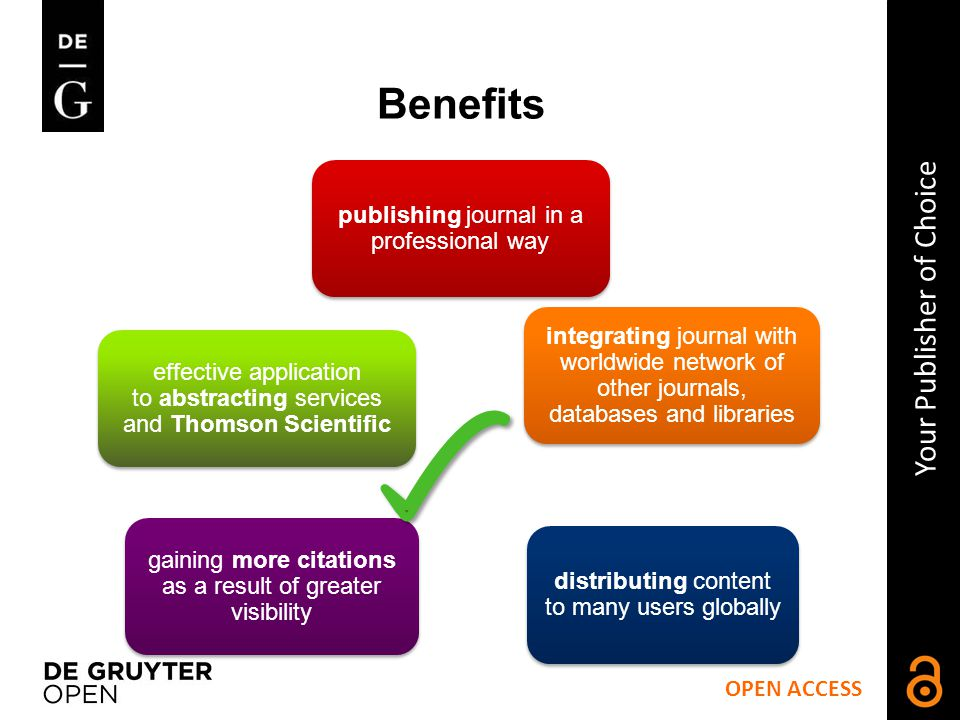 publishing journal in a professional way integrating journal with worldwide network of other journals, databases and libraries distributing content to many users globally gaining more citations as a result of greater visibility effective application to abstracting services and Thomson Scientific OPEN ACCESS Your Publisher of Choice Benefits