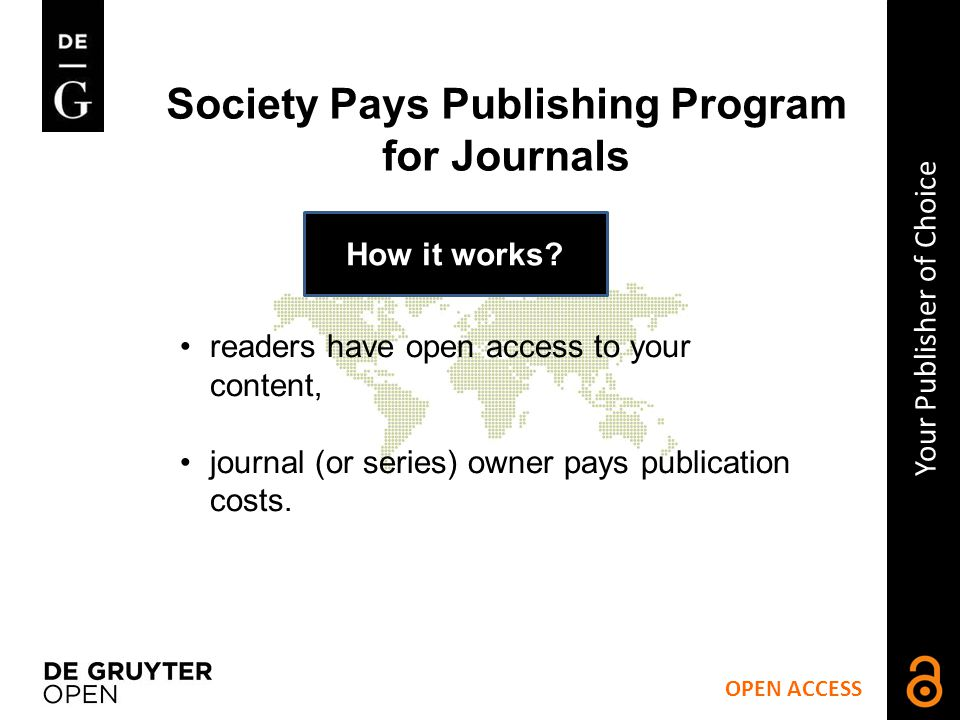 Society Pays Publishing Program for Journals How it works.