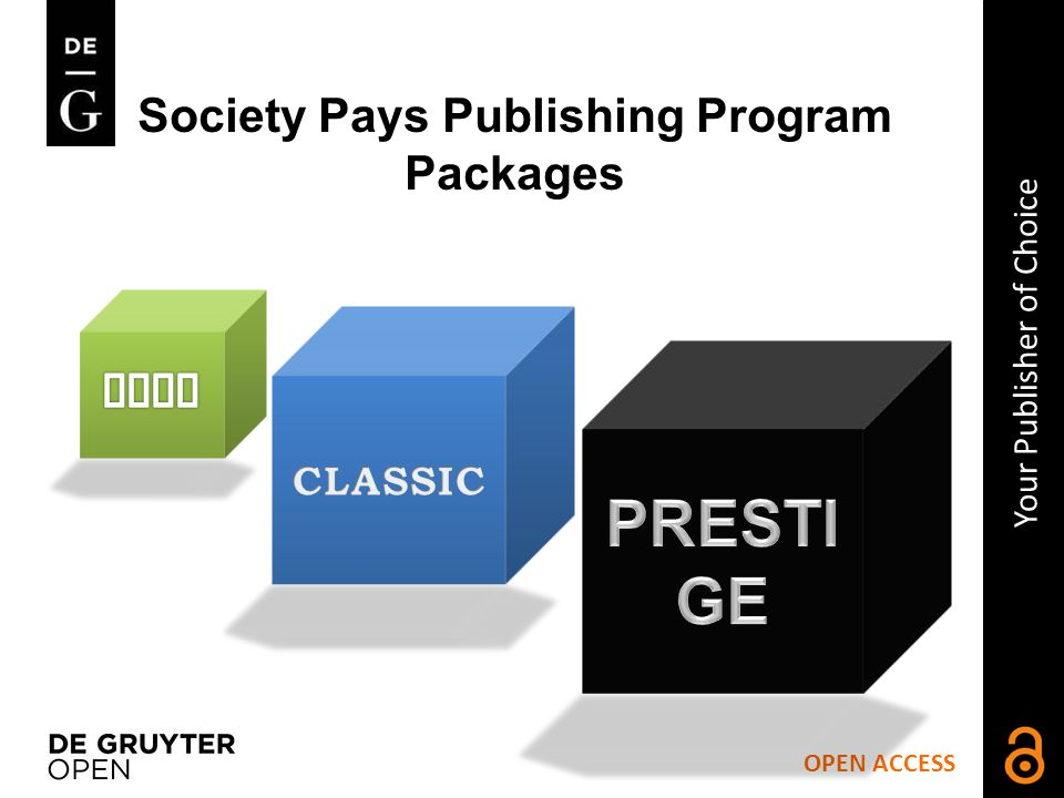 Society Pays Publishing Program Packages OPEN ACCESS Your Publisher of Choice