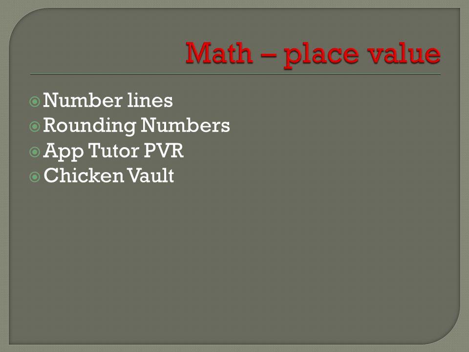  Number lines  Rounding Numbers  App Tutor PVR  Chicken Vault