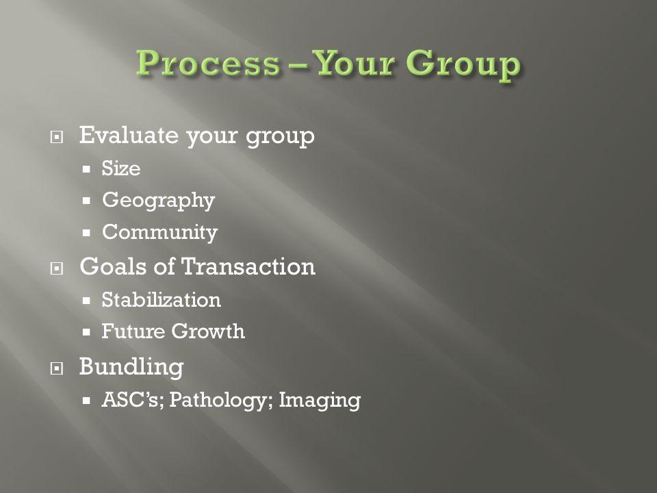  Evaluate your group  Size  Geography  Community  Goals of Transaction  Stabilization  Future Growth  Bundling  ASC's; Pathology; Imaging
