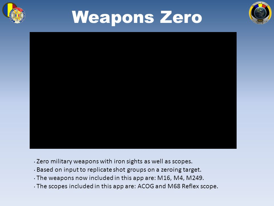Weapons Zero Zero military weapons with iron sights as well as scopes.