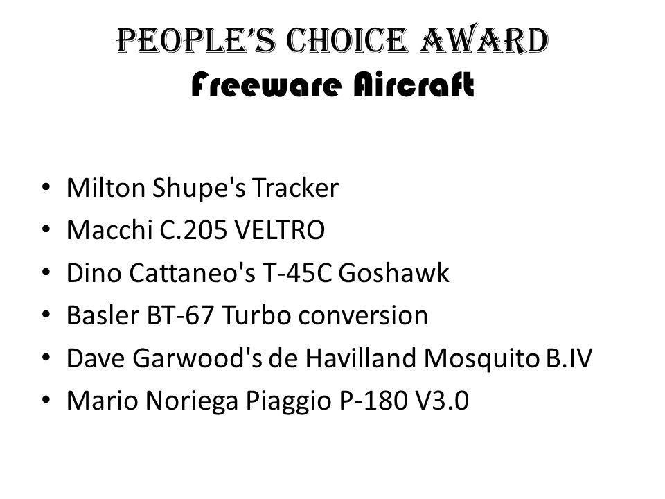 People's Choice Award Freeware Aircraft Milton Shupe s Tracker Macchi C.205 VELTRO Dino Cattaneo s T-45C Goshawk Basler BT-67 Turbo conversion Dave Garwood s de Havilland Mosquito B.IV Mario Noriega Piaggio P-180 V3.0